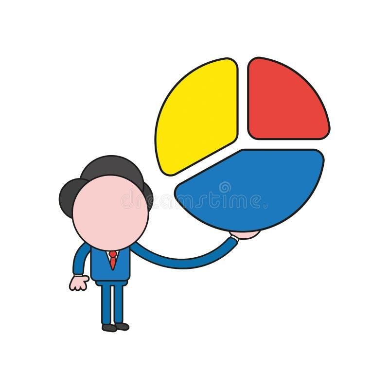 Wektorowa ilustracja trzyma trzy części diagram biznesmena charakter Koloru i czerni kontury ilustracji