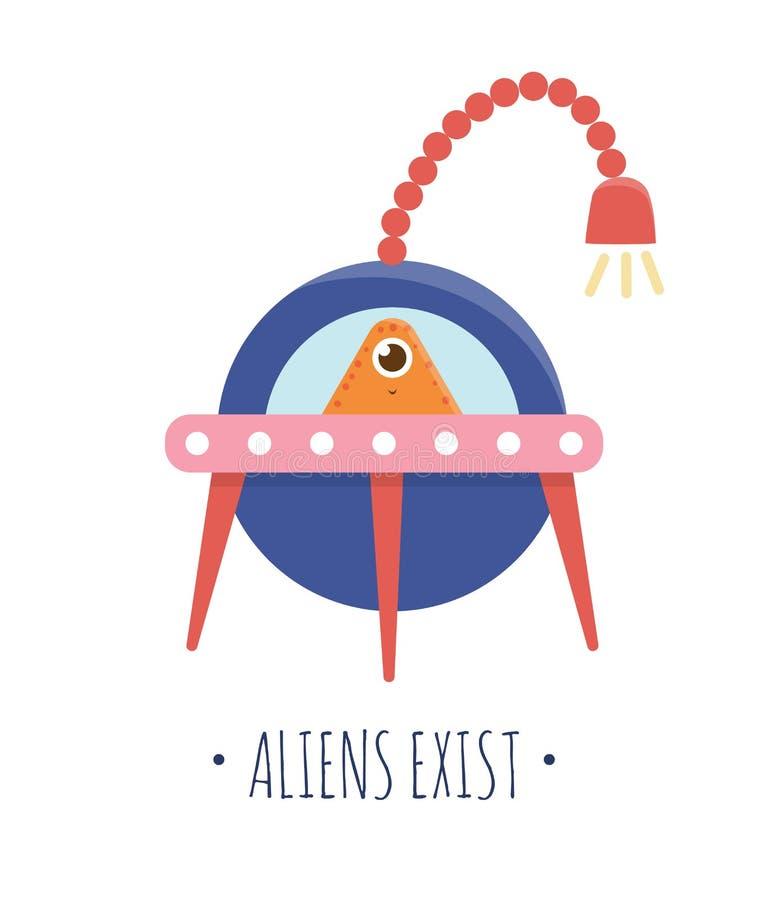 Wektorowa ilustracja UFO z obcym dla wśrodku dzieci ilustracja wektor