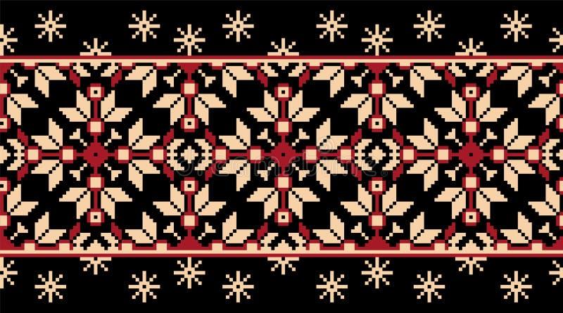 Wektorowa ilustracja ukraiński ludowy bezszwowy deseniowy ornament ornament etniczne Rabatowy element Tradycyjny kniaź royalty ilustracja