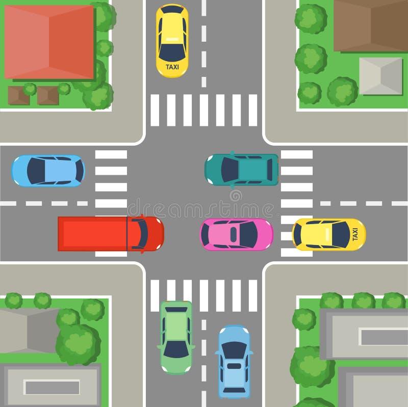 Wektorowa ilustracja uliczny skrzyżowanie w mieście uliczny odgórny widok z samochodami, drogi, domy i drzewa, Rozdroża pojęcie ilustracja wektor