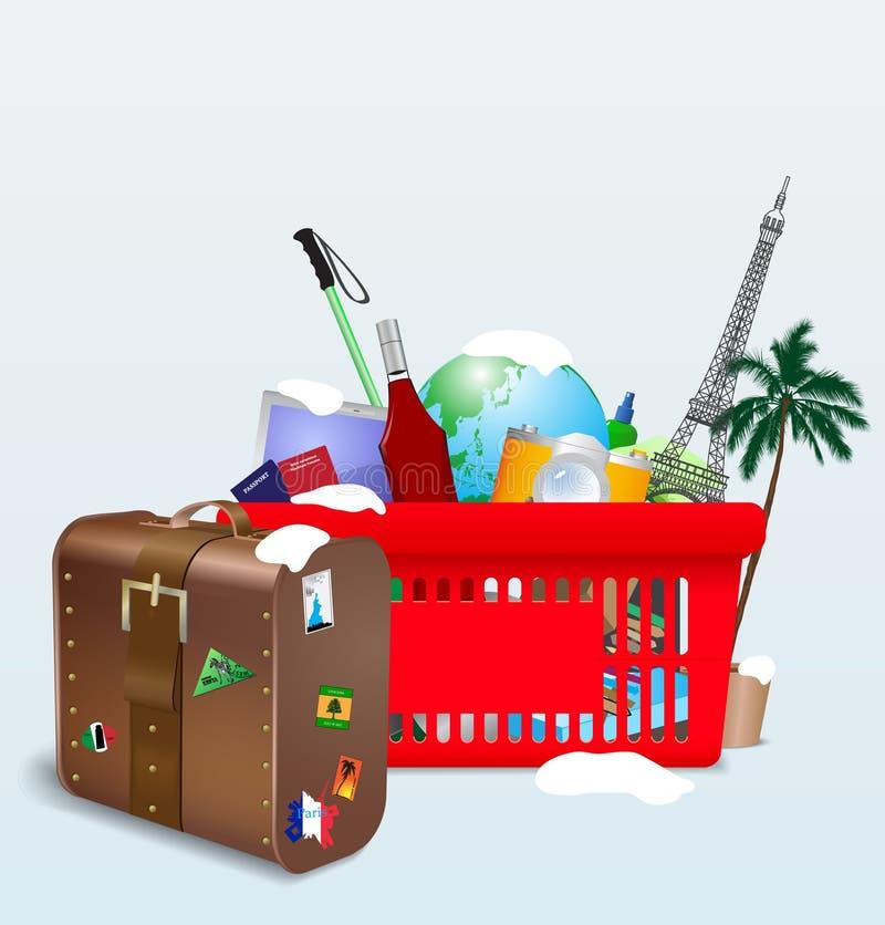 Wektorowa ilustracja urlopowy wózek na zakupy ilustracji