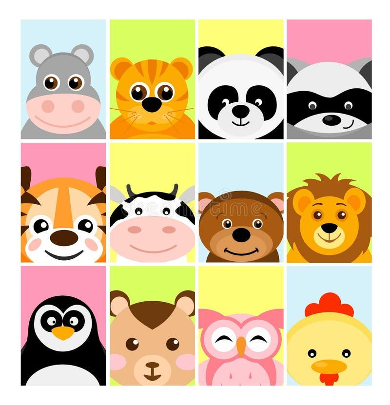 Wektorowa ilustracja uroczy śliczni dzieci zwierzęta na kolorów tło dla sztandaru, flayer, plakat dla dzieci w mieszkaniu ilustracja wektor