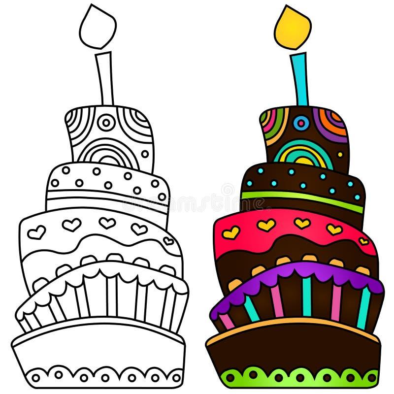 Wektorowa ilustracja urodzinowy tort zdjęcia royalty free
