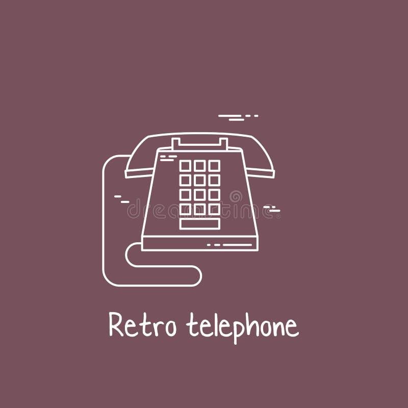 Wektorowa ilustracja urządzenie łącznościowe - klasyczna retro rocznika telefonu ikona Komórka symbolu sylwetka odizolowywająca k ilustracja wektor