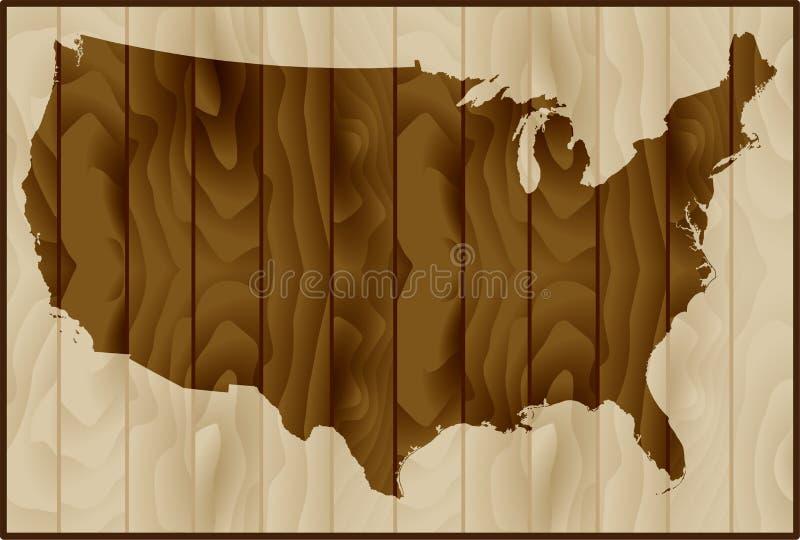 Wektorowa ilustracja usa mapa na drewnianym tle zdjęcie stock