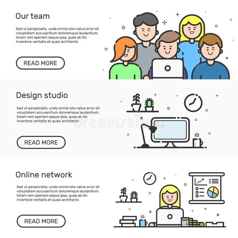 Wektorowa ilustracja ustaleni strona internetowa sztandary z błękitną ikoną w płaskim kreskowym stylu Liniowi śliczni i szczęśliw ilustracji