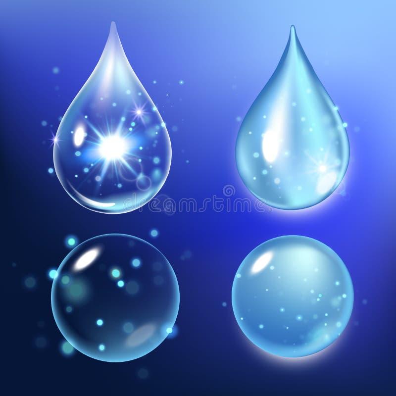 Wektorowa ilustracja Ustalone kolagen krople, woda, przejrzysty, hyalurowy kwas, ilustracja wektor