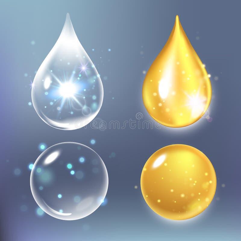 Wektorowa ilustracja Ustalone kolagen krople, woda, przejrzysty, hyalurowy kwas, ilustracji