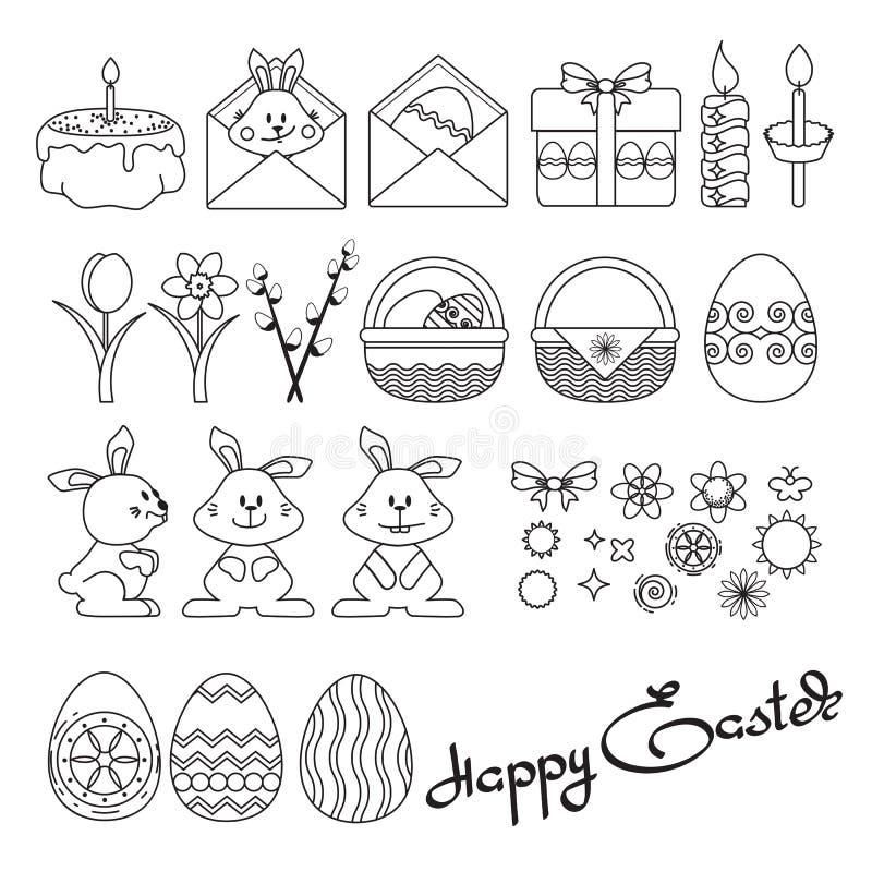 Wektorowa ilustracja ustalone Wielkanocne ikony na bielu ilustracji