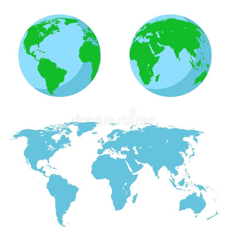 Wektorowa ilustracja ustawia - mapę świat dwa hemisfery ilustracja wektor