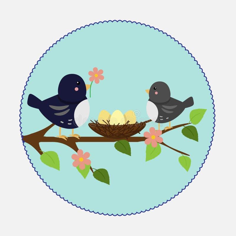 Wektorowa ilustracja w mieszkanie stylu Gałęziasty gniazdeczko i ptaki ilustracji