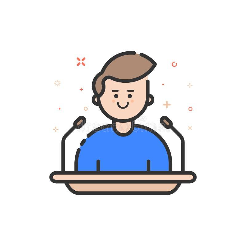 Wektorowa ilustracja w płaskim śmiałym konturu stylu z chłopiec - krasomówcy mówienie od trybuny ilustracja wektor