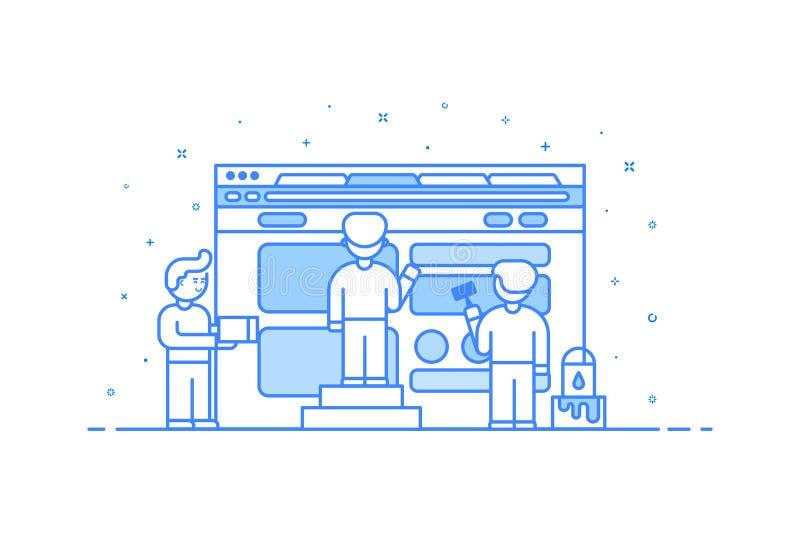 Wektorowa ilustracja w płaskim konturu stylu Graficznego projekta pojęcie sieć i interfejsu użytkownika rozwój royalty ilustracja