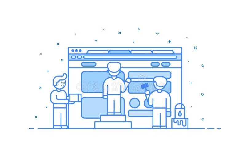 Wektorowa ilustracja w płaskim konturze i liniowym stylu Pojęcie sieć interfejsu użytkownika i projekta rozwój - ilustracji