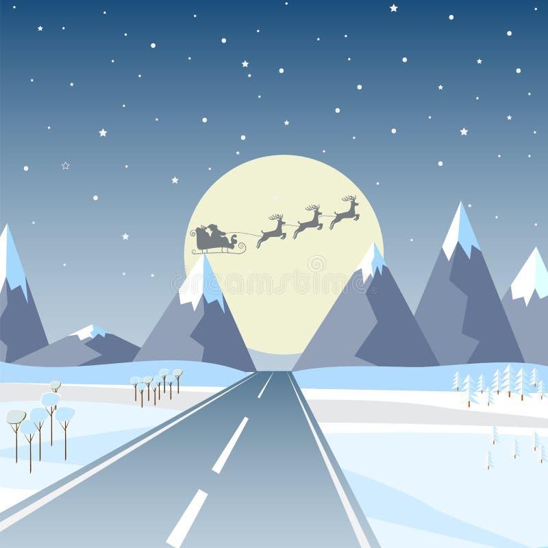 Wektorowa ilustracja w płaskim projekcie: Zim gór krajobraz z drogą, sosną i jasnym gwiaździstym niebem z gwiazdami, ilustracji