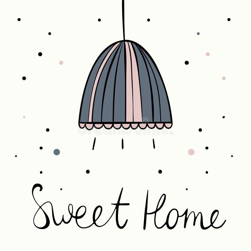 Wektorowa ilustracja w skandynawa stylu Biały tło home sweet ilustracji
