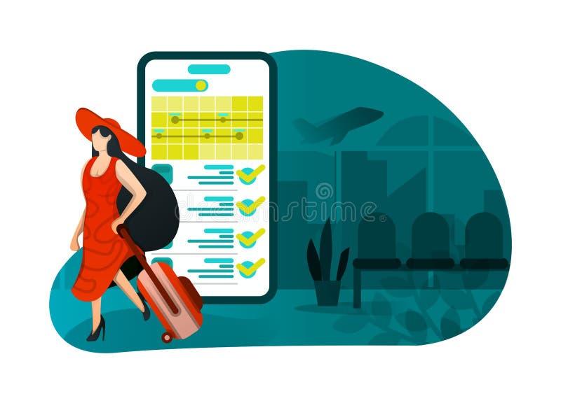 Wektorowa ilustracja wakacje 4 (0), biletowy rezerwacji zastosowanie kapeluszowa dziewczyna opuszcza dla tygodnia smartphone app  ilustracja wektor