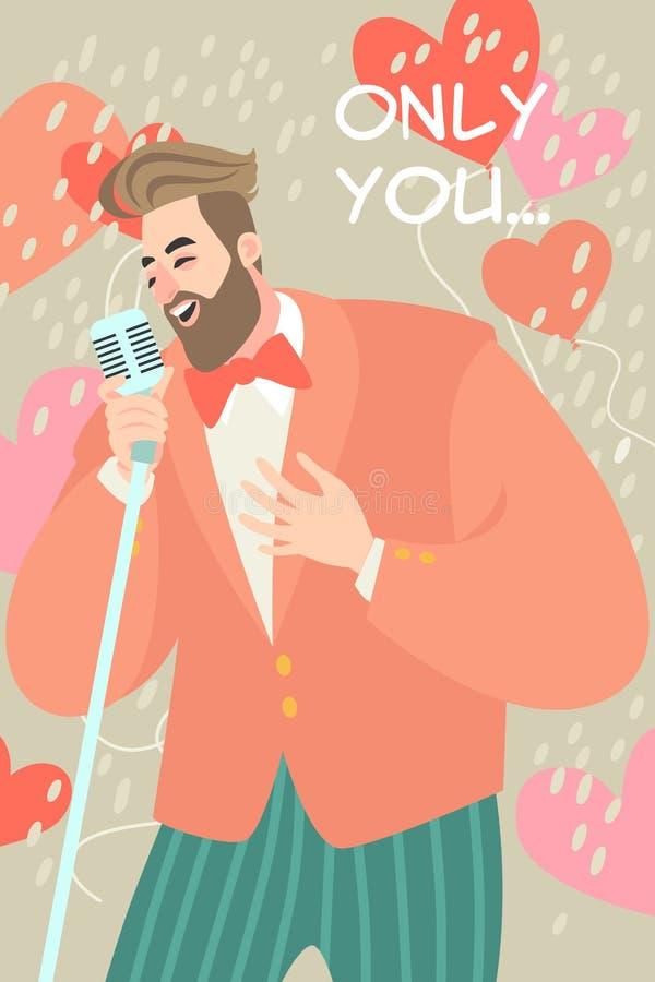 Wektorowa ilustracja walentynka dzień z mężczyzną śpiewa piosenkę miłosną ilustracja wektor