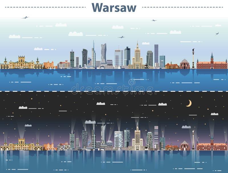 Wektorowa ilustracja Warszawska miasto linia horyzontu przy dniem i nocą ilustracja wektor