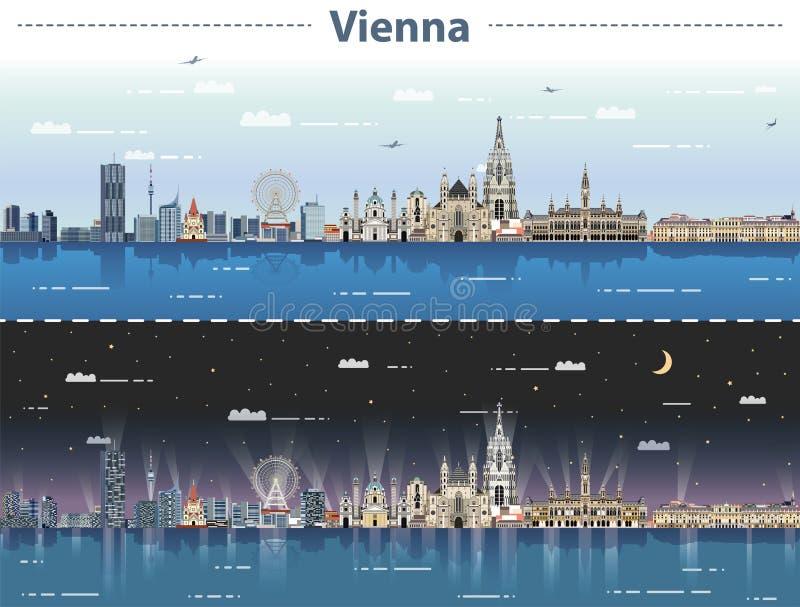 Wektorowa ilustracja Wiedeń miasta linia horyzontu przy dniem i nocą ilustracji