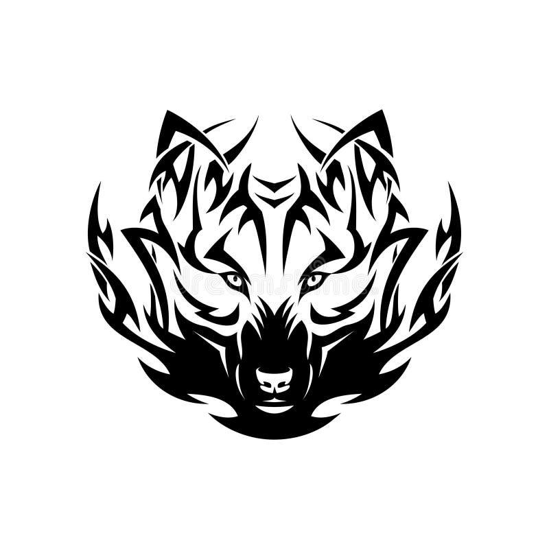 Plemienny wilczy tatuaż ilustracja wektor