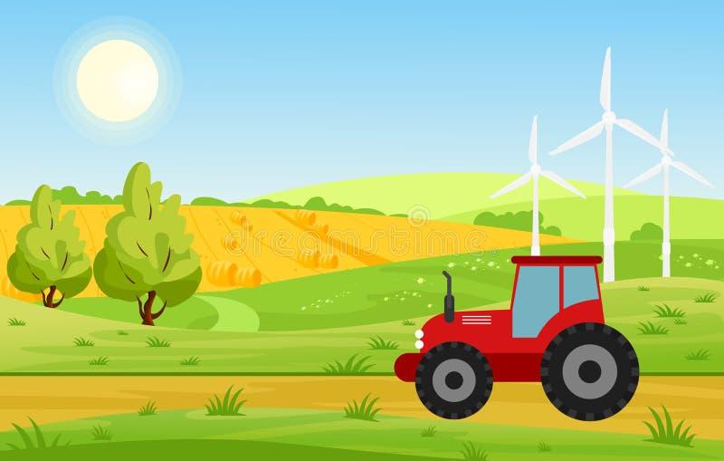 Wektorowa ilustracja wioska z polami i ciągnikowym działaniem na uprawiającej ziemię ziemi, jaskrawi kolory kształtuje teren wewn royalty ilustracja