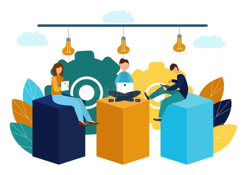 Wektorowa ilustracja, wirtualny biznesowy asystent praca zespo?owa, brainstorming, nowi pomys?y, dokonuje cele, nowi zwyci?stwa ilustracji