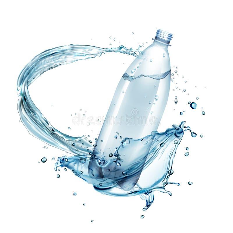 Wektorowa ilustracja wodni pluśnięcia wokoło plastikowej butelki odizolowywającej na tle ilustracji