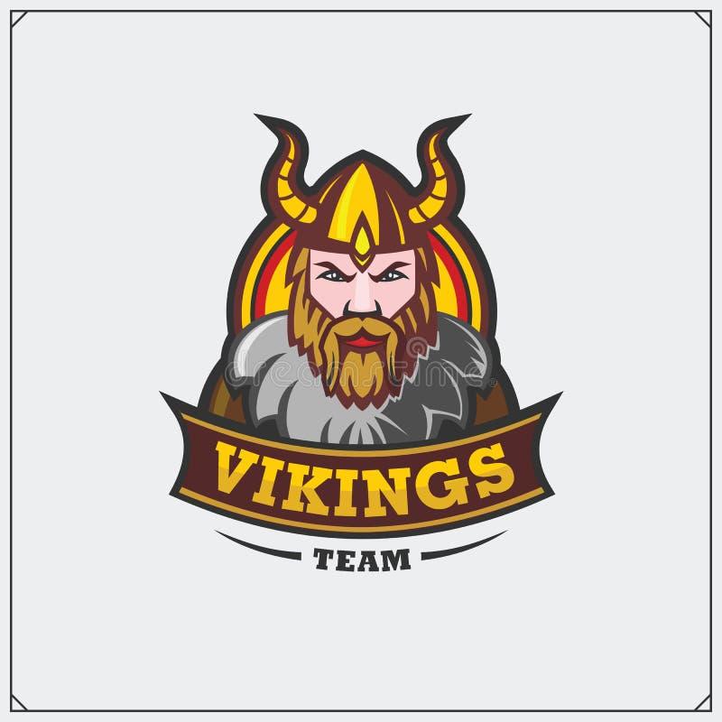 Wektorowa ilustracja wojownik jest ubranym Viking hełm ilustracji