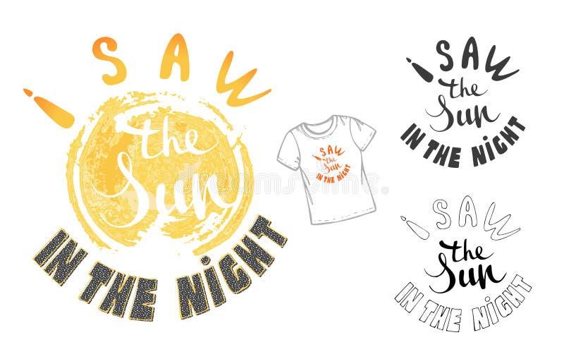 Wektorowa ilustracja: Wręcza patroszonego literowanie skład lato z doodle słońcem Cześć Ręcznie pisany kaligrafia projekt royalty ilustracja