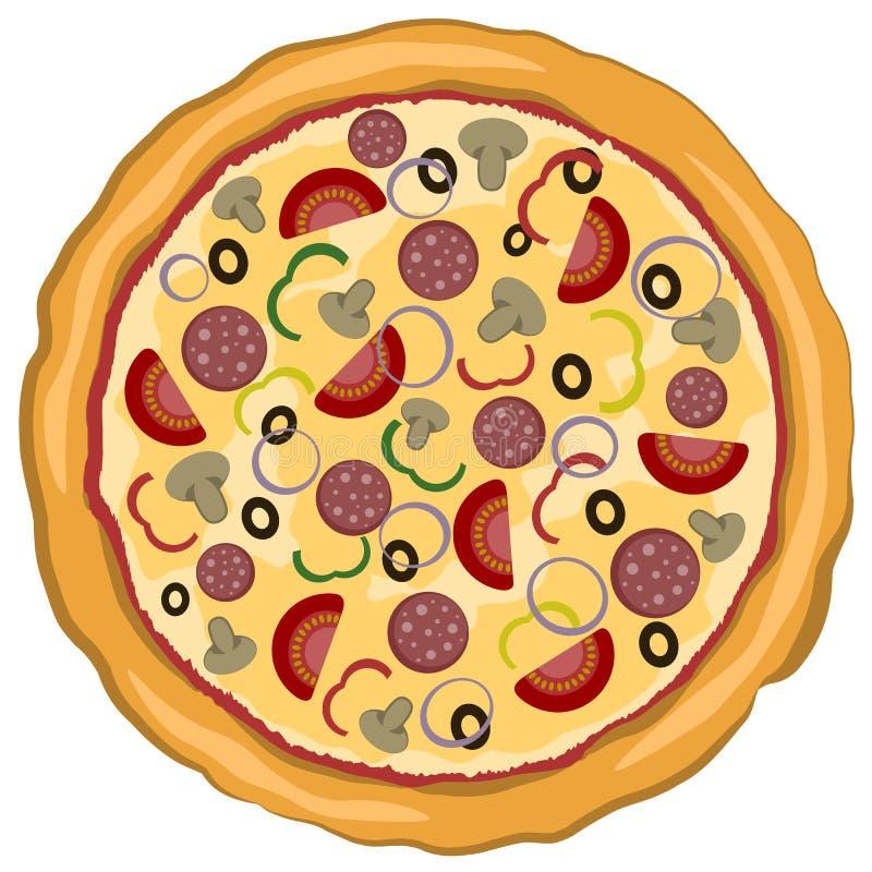 Wektorowa ilustracja Wyśmienicie Włoska pizza odizolowywająca na białym tle Abstrakcjonistyczny eleganci jedzenie ilustracji
