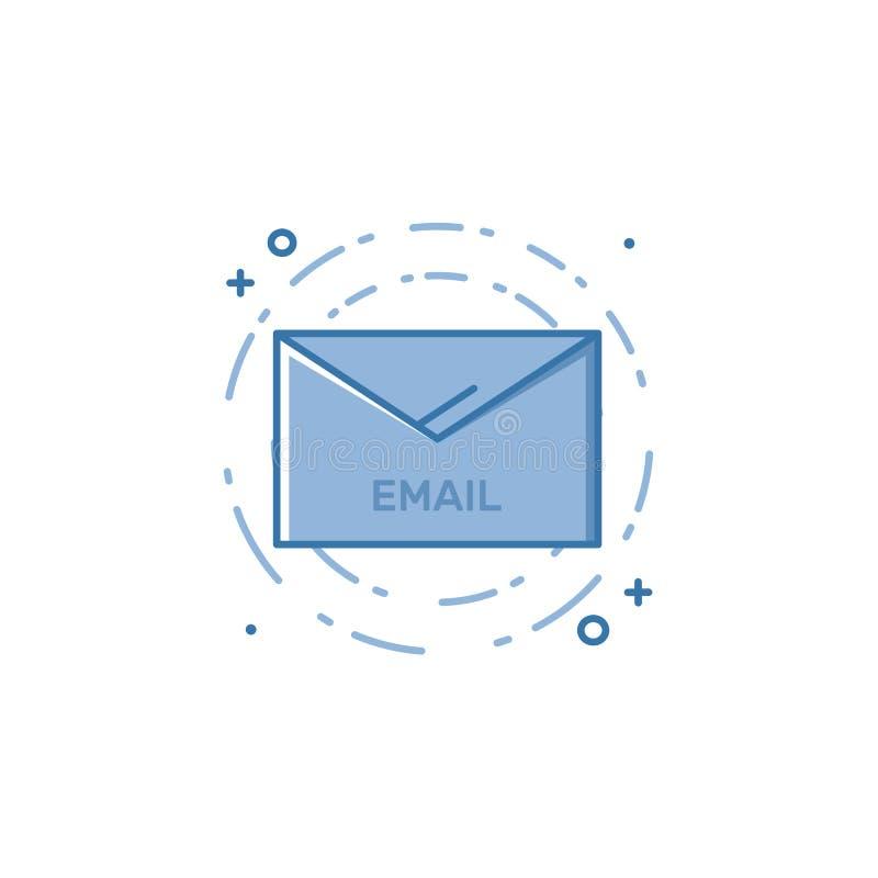 Wektorowa ilustracja wypełniający śmiały kontur odkrywa email ikonę ilustracji