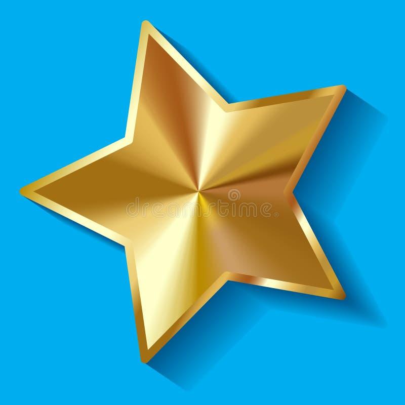Wektorowa ilustracja złocista błyszcząca Betlejem gwiazda na błękitnym tle royalty ilustracja
