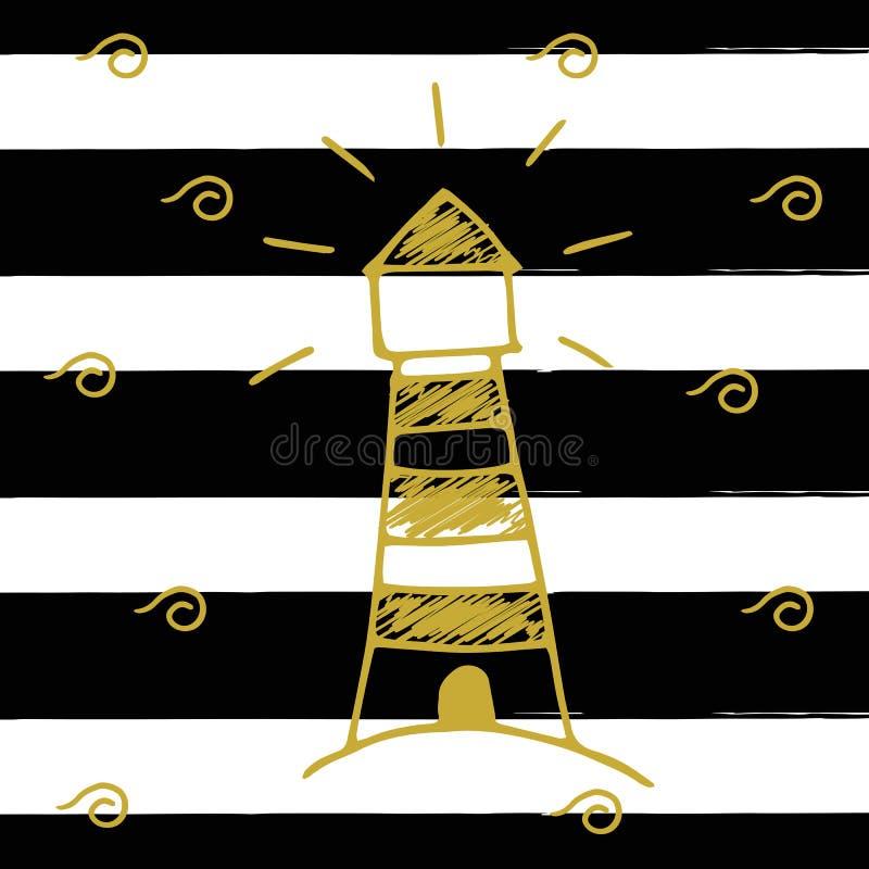 Wektorowa ilustracja złoty lekki dom na tle z czarnymi lampasami Ręka rysująca wektorowa sztuka ilustracja wektor