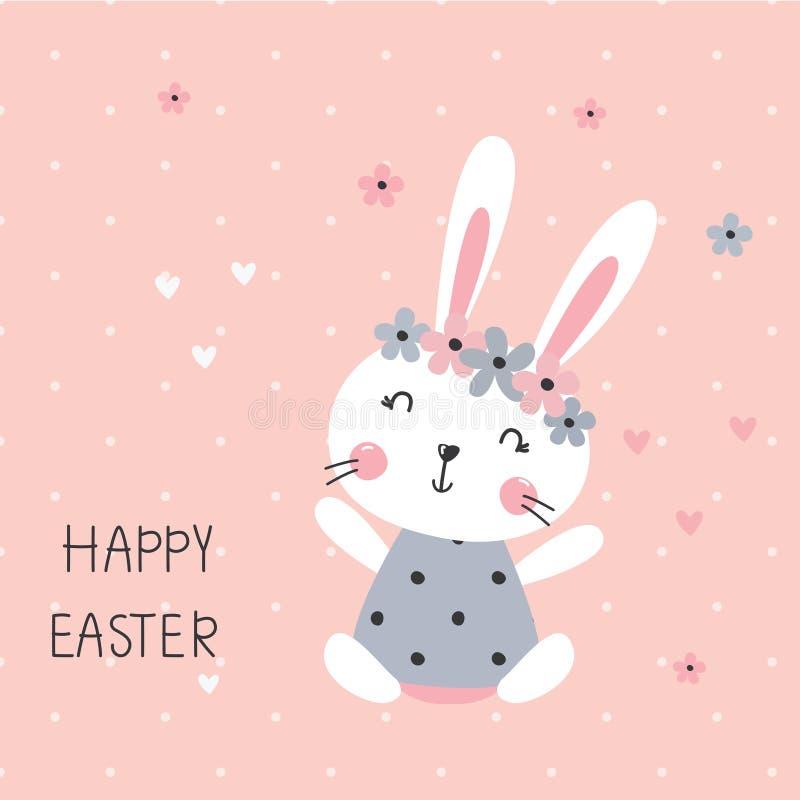 Wektorowa ilustracja z śliczną szczęśliwą królik dziewczyną royalty ilustracja