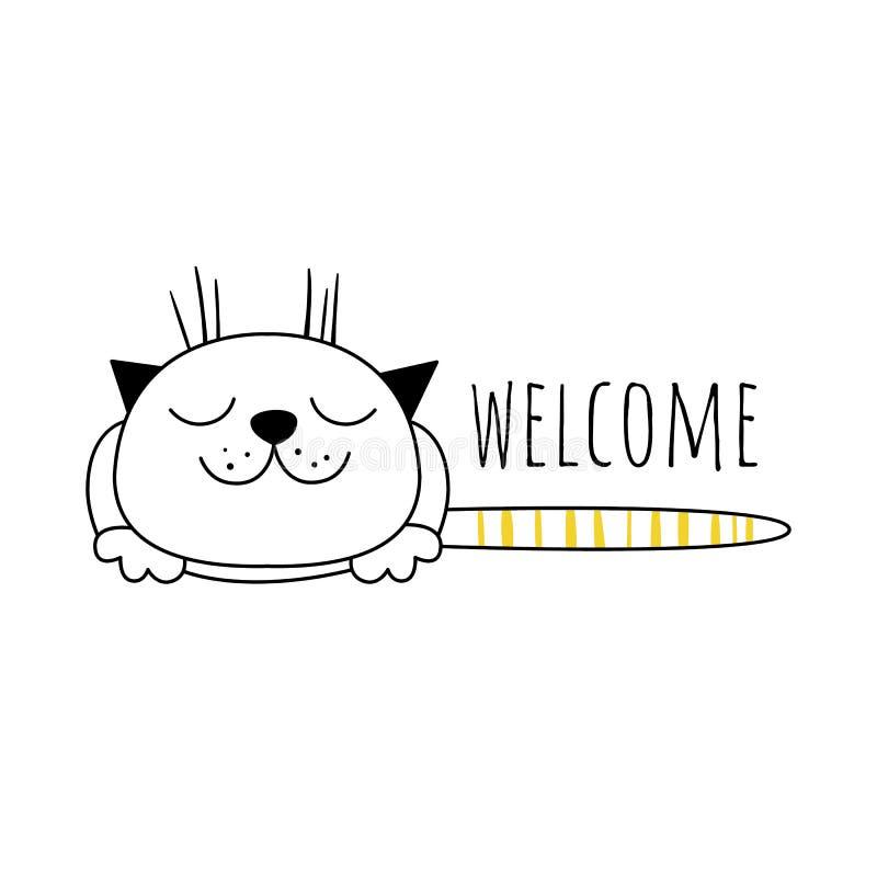 Wektorowa ilustracja z ślicznym kotem, powitanie tło w minimalisty stylu Biały tło, Skandynawski motyw ilustracja wektor