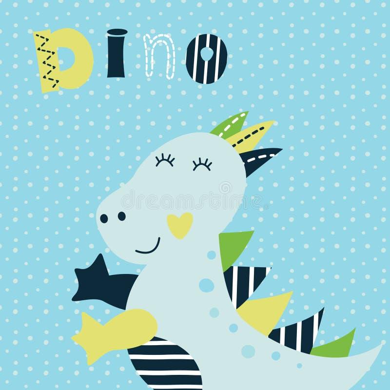 Wektorowa ilustracja z ślicznym małym dinosaurem ilustracja wektor