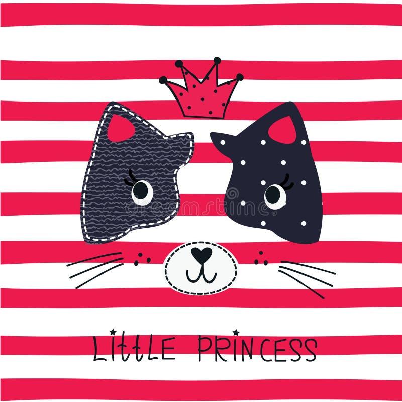 Wektorowa ilustracja z ślicznym princess kotem ilustracji