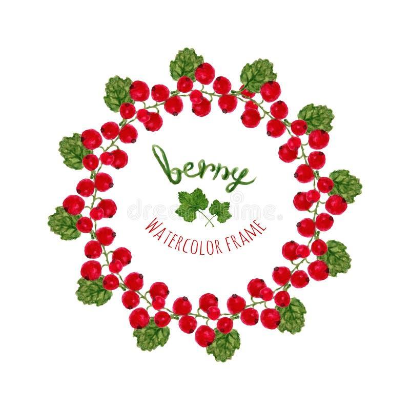 Wektorowa ilustracja z akwarela czerwonych rodzynków ramą Ręka rysująca jagoda dla rolników wprowadzać na rynek, ziołowa herbata royalty ilustracja
