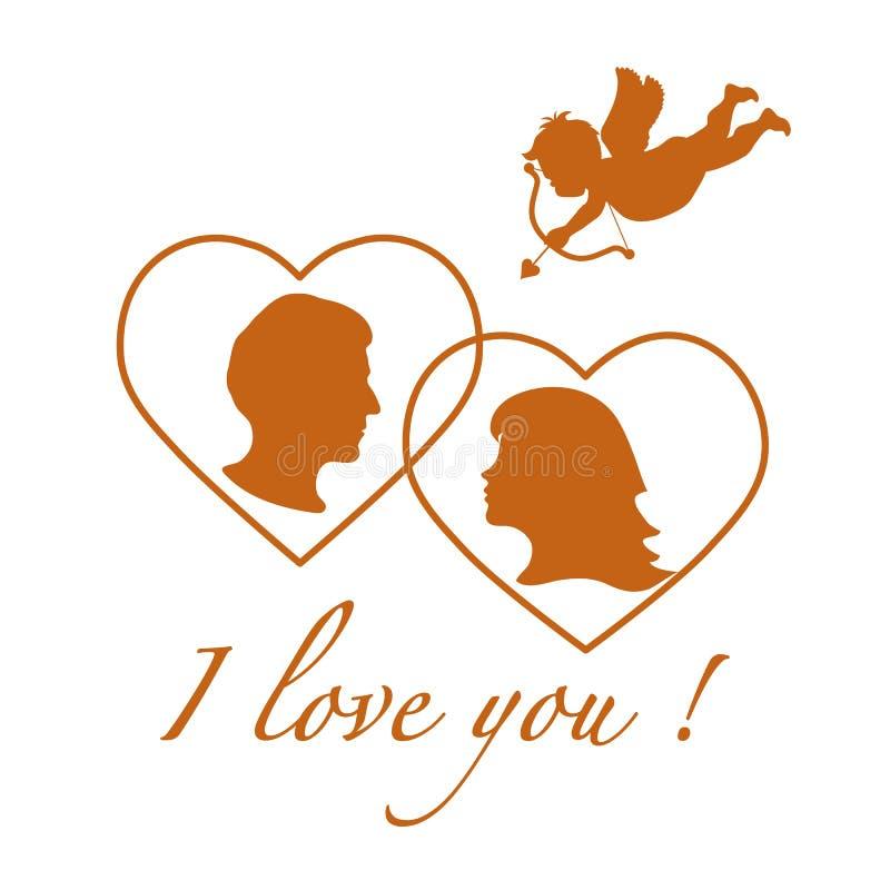 Wektorowa ilustracja z amorka łucznictwem i para w miłości Szczęśliwa walentynka, s dzień ' Projekt dla karty, sztandaru, plakata royalty ilustracja