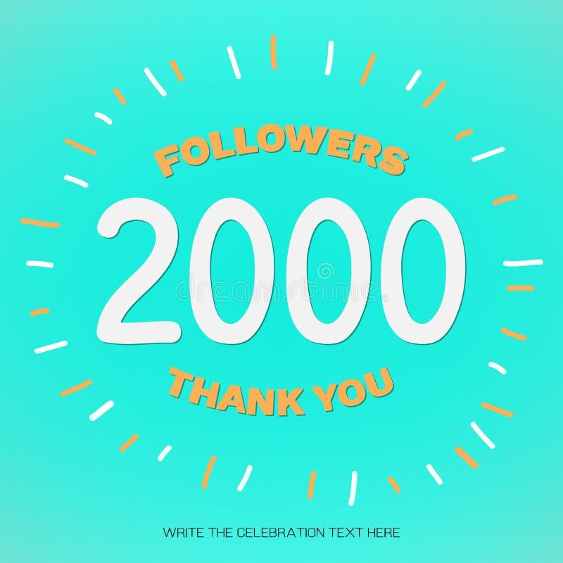 Wektorowa ilustracja z białymi cyframi 2000 i pomarańczowy tekst Dziękuje Ciebie zwolennicy na niebieskozielonym tle zdjęcie stock