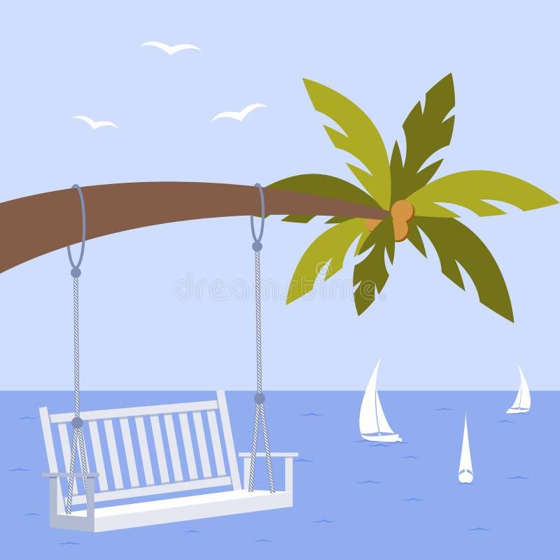 Wektorowa ilustracja z drzewkiem palmowym, poślubiający ławkę i jacht, seagulls royalty ilustracja