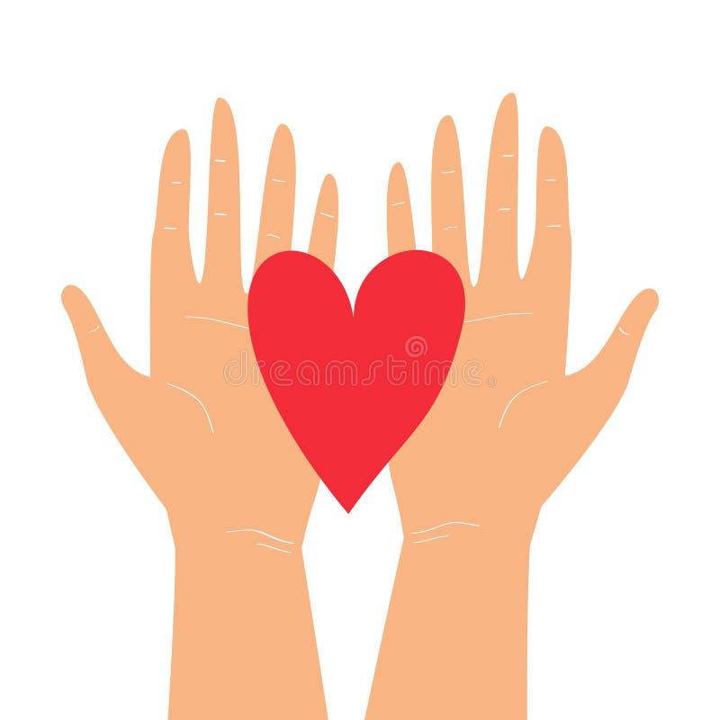 Wektorowa ilustracja z dwa rękami trzyma serce odizolowywający na białym tle Szczęśliwy walentynka dnia kartki z pozdrowieniami p ilustracja wektor