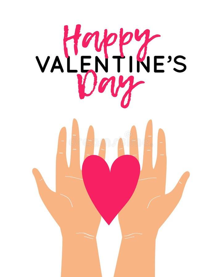 Wektorowa ilustracja z dwa rękami trzyma serce s szcz??liwego valentine karciany dzie? ilustracji