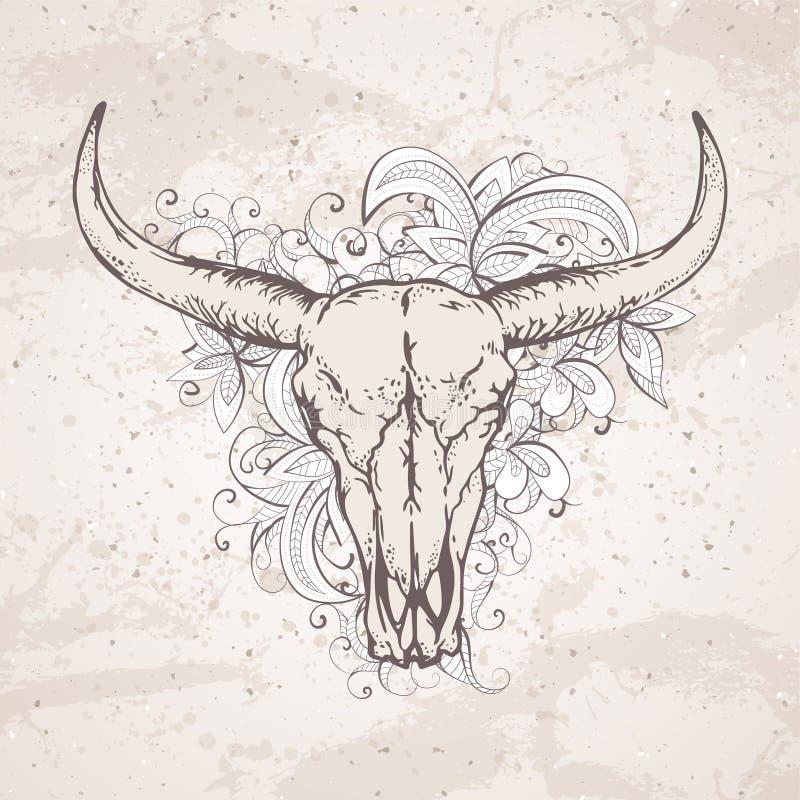 Wektorowa ilustracja z dziki bawoli czaszek i kwiatów wzór na grunge tle royalty ilustracja