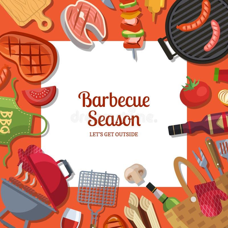 Wektorowa ilustracja z grilla lub grilla kulinarnym tematem z miejscem dla teksta ilustracji