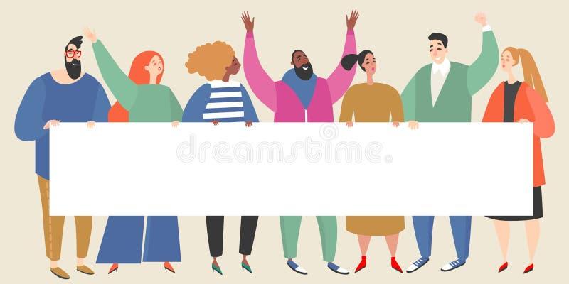 Wektorowa ilustracja z grupą młode kobiety i mężczyźni trzyma pustego sztandar ilustracji