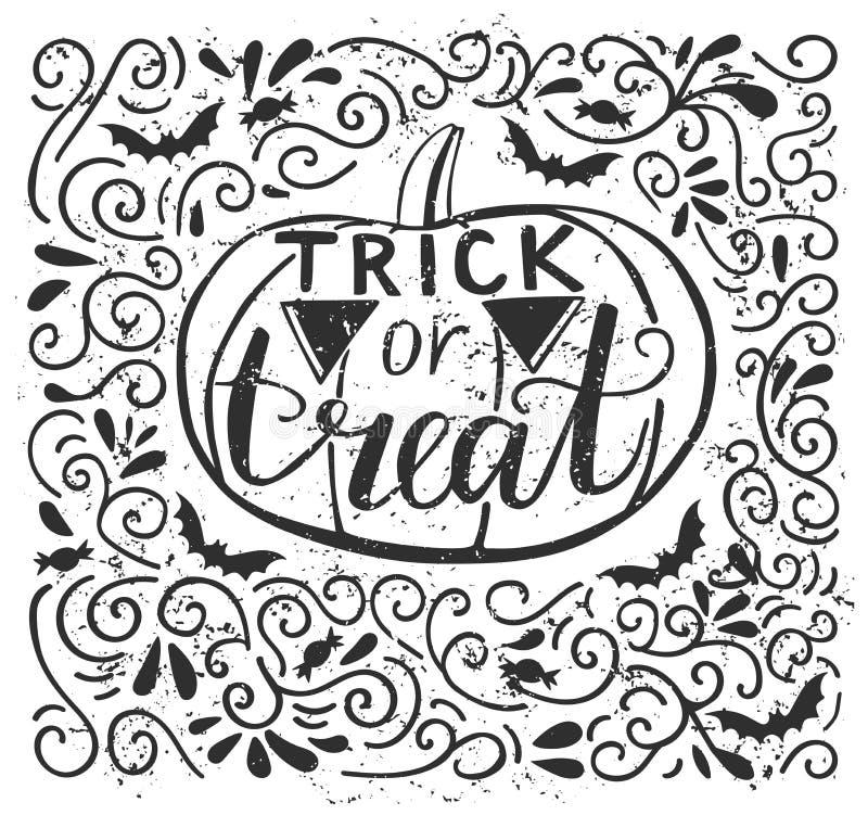 Wektorowa ilustracja z Halloweenowym pumplin i literowaniem ilustracja wektor