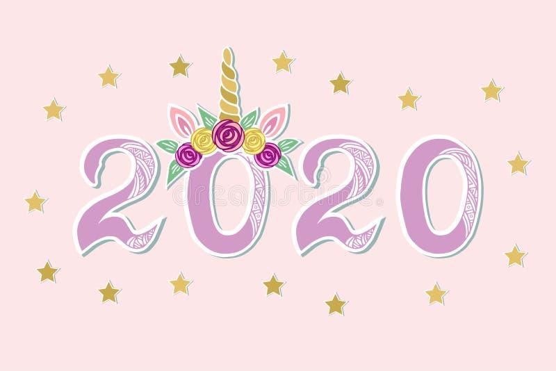 Wektorowa ilustracja z 2020 i jednorożec tiara ilustracja wektor