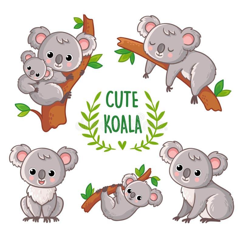 Wektorowa ilustracja z koalą w różnorodnych pozach ilustracji